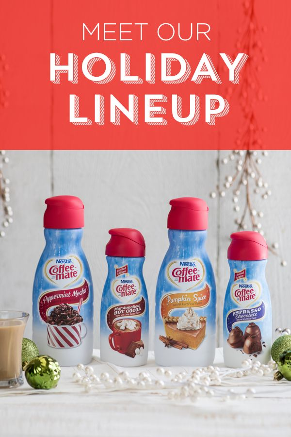 Try our rich and creamy holiday inspired flavors, including two new editions: Nestlé Coffee-mate Marshmallow Hot Cocoa and Coffee-mate Espresso Chocolate flavors. Taste the spirit of the season with every sip whether you're serving it at the end of a holiday meal or taking a quiet moment to recharge.