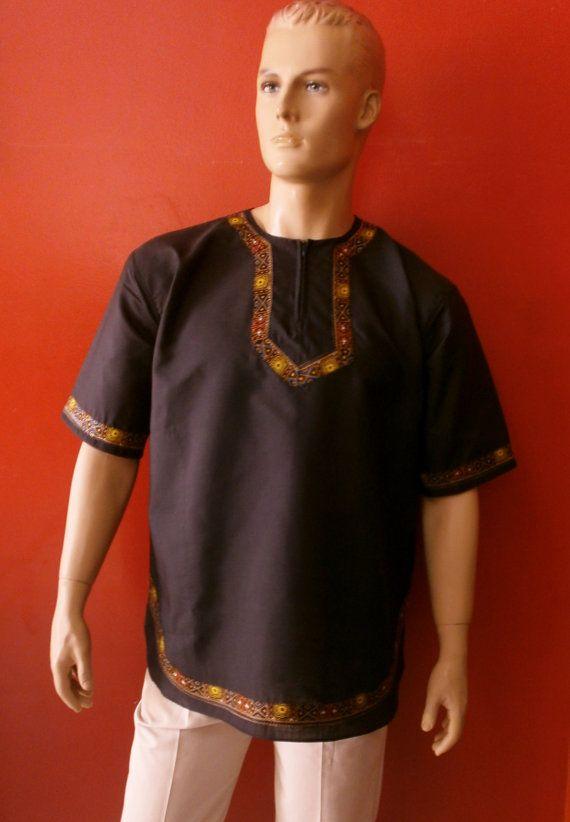 So colored art shirt for men  Gender: Male brand new Material: Cotton Color Black  short sleeve artistic decoration dashiki  Place of Origin: