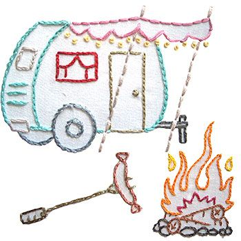 camping embroidery patterns. You can practically smell the s'mores