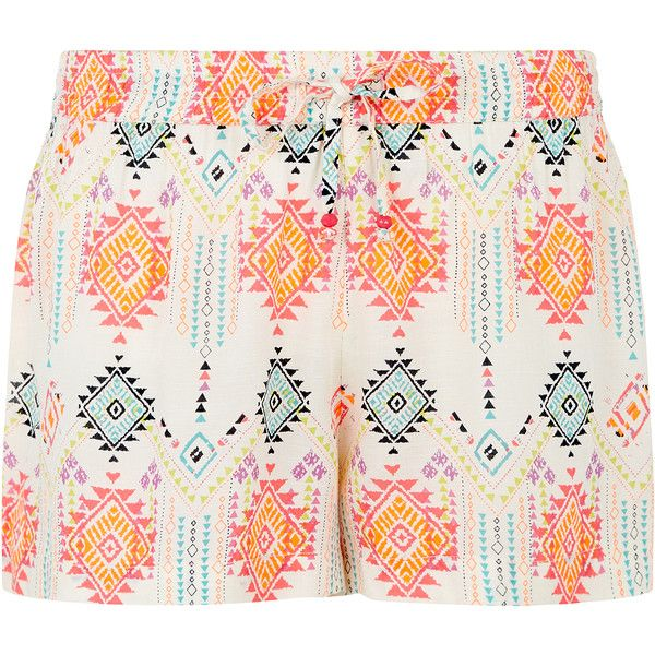 Accessorize Carmela Aztec Printed Shorts featuring polyvore, fashion, clothing, shorts, pink, elastic waist shorts, neon shorts, neon pink shorts, beach shorts and aztec shorts