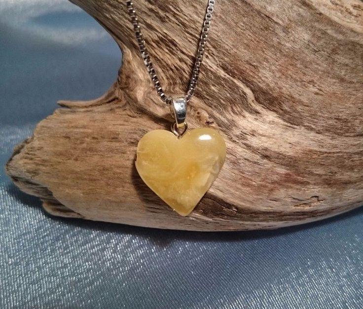 Genuine Baltic Amber Yellow Heart Pendant No Enhancement #Handmade #Heart