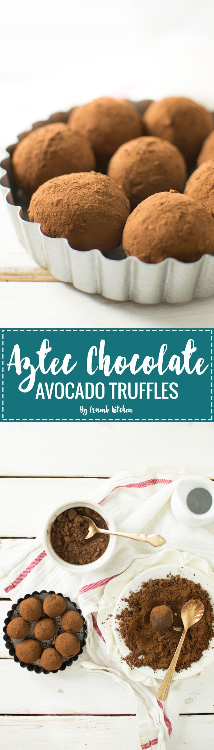 MThese sinful Aztec Chocolate Avocado Truffles are made from pure dark chocolate and mashed avocado, rolled in Aztec hot chocolate mix. | Crumb Kitchen