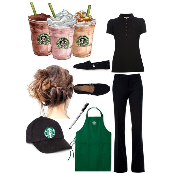 Starbucks barista by hightopz on Polyvore featuring polyvore, fashion, style, Burberry, Dsquared2, TOMS, Forever 21, Gap and clothing