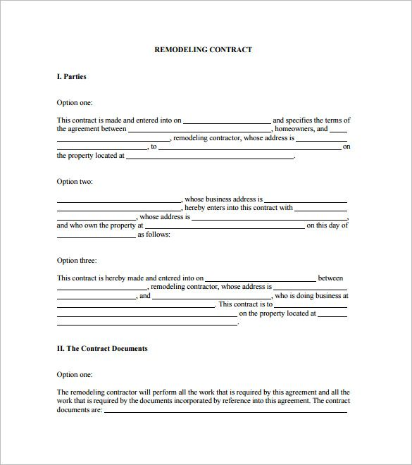 Home Remodeling Contract Template 7 Free Word Pdf Documents
