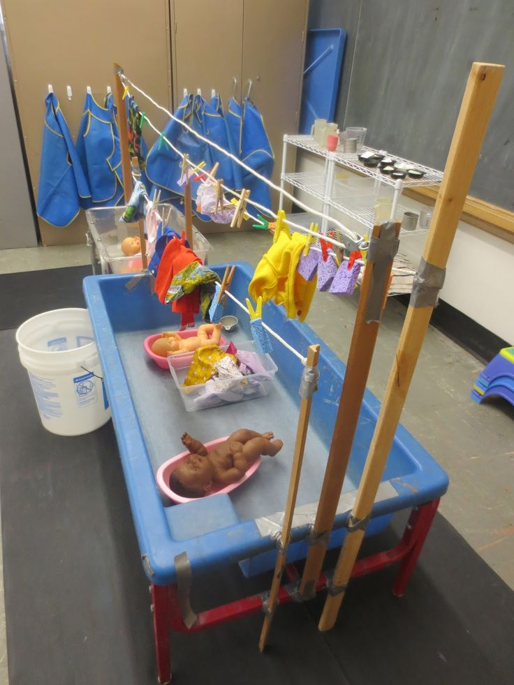 SAND AND WATER TABLES. For children to wash babies and to wash and hang clothes. Clothes drip dry into the basin.