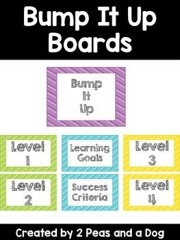 Bump It Up Boards are a strategy used to increase student performance. It can be applied to any subject level. Students work is compared against a Level 1 - Level 4 assessment scale. Students use this information to improve their work before submission to the teacher. This is a great self editing, proof reading and peer editing strategy. All headers in this set come in six different colour choices (blue, green, pink, purple, orange, yellow) to match your classroom decor. ($)
