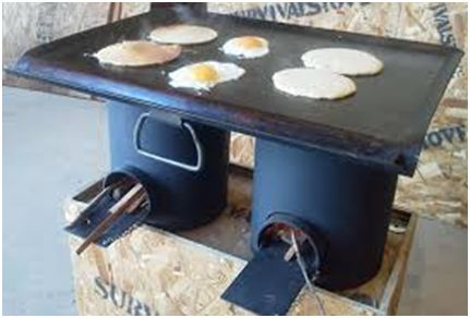 - makeshift survival stove (forget the grid, this could come in handy when camping sometime)