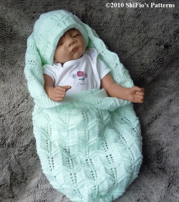 Free Knitted Baby Cocoon Pattern : KNITTING PATTERN for BABY COCOON & HAT preemie, 0-3, 3-6mths # 133 By?