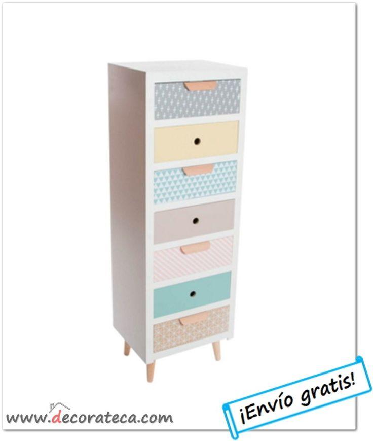 """Chifonier de madera nórdico con 7 cajones """"Lätt"""". Mueble auxiliar decoración escandinava en colores pastel - WWW.DECORATECA.COM"""