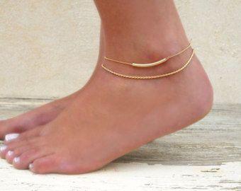 Doppelt geschichteten Gold Fußkettchen Goldkette von annikabella