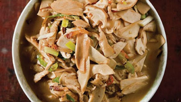 "The chicken in this stir-fry is coated in a mixture of egg white and cornstarch before cooking—a technique called velveting (see ""Smooth Move,"")--to preserve its succulence. See the recipe »"