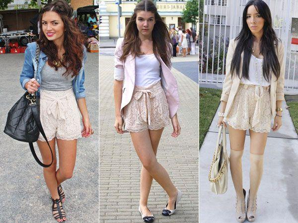 Shorts largos rendandos