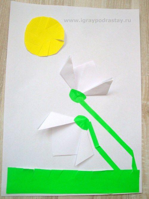 """Поделка """"Подснежники"""". Оригами и аппликация."""