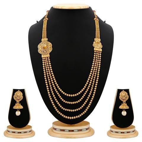 Golden Color Brass Necklace Set  - RLNS-1315