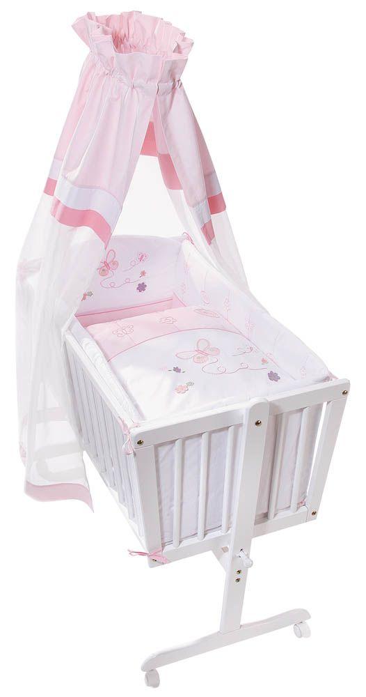 Komfortable Wiege mit kompletter Ausstattung - für Mädchen.