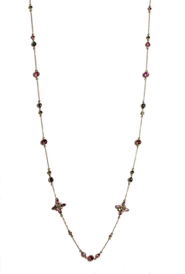 Hania Kuzbari Arabesque Collection necklace of 18K yellow gold, brown diamond, pink and green tourmaline // http://haniakuzbari.com/arabesque.php
