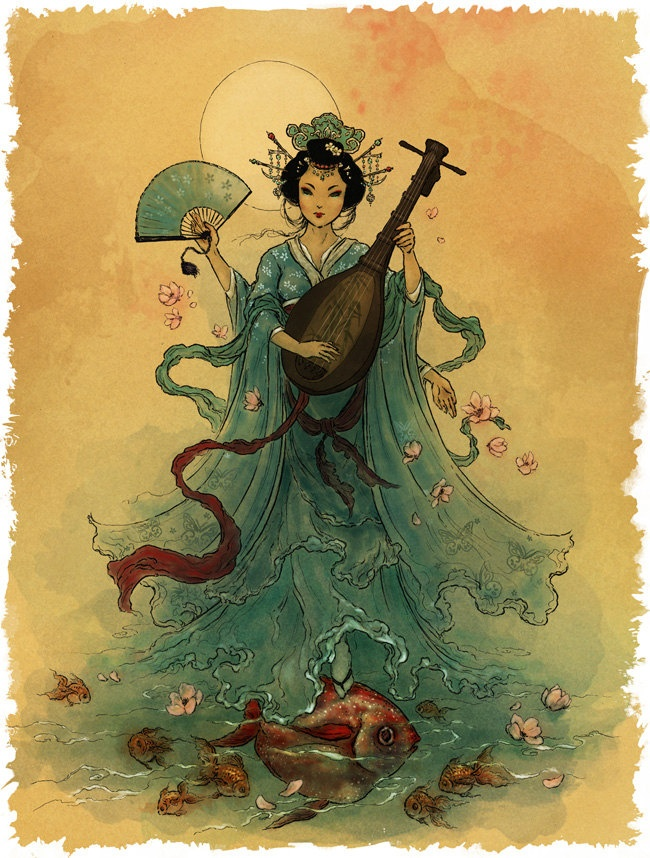Benzaiten- Shinto Goddess. Also known as Benten, she is the Japanese Buddhist and Shinto goddess of everything that flows: water, words, speech, eloquence, music and by extension, knowledge.  Sometimes she is depicted with two arms, sometimes with eight. She always carries objects symbolic of her meaning—, the lute for music, the sword and jewel for wisdom and sacred vows.