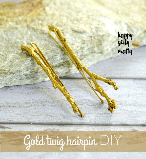 Gold twig hairpin DIY!