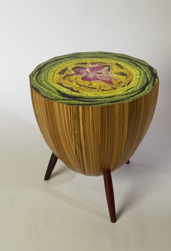 Artichoke Table by David Rasmussen: Made of molded plywood faced with zebra wood veneer and cocobolo legs. Painting executed by Scot Harris which has been sanded and treated for durablility.