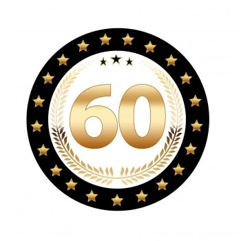 25 stuks Luxe Bierviltjes met 60 jaar opdruk. Zwart met goudkleurige uitvoering en dubbelzijdig bedrukt.