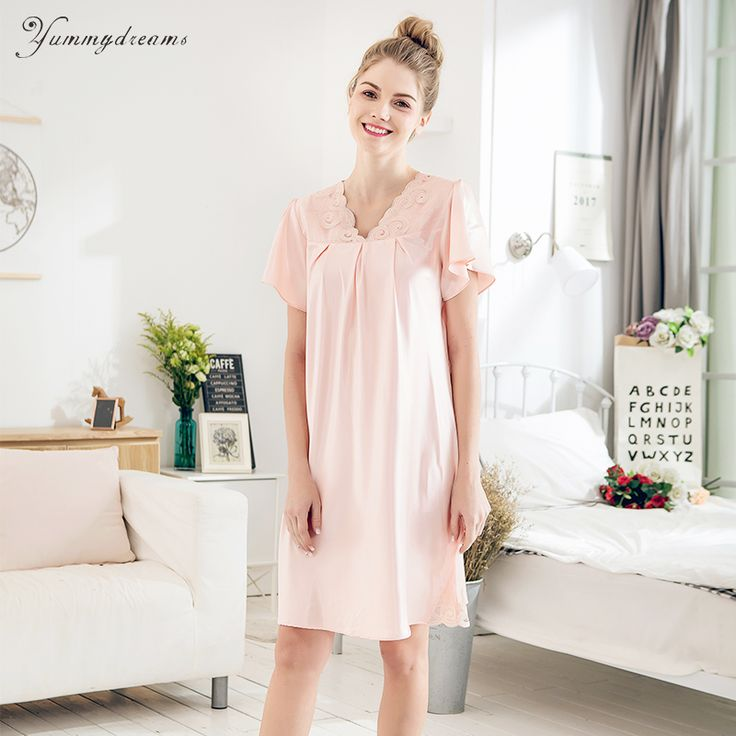 Yummydreams 2017 Ladies Sexy Silk Satin Night Dress Sleeveless Nighties Nightgown Plus Size Lace Sleepwear Nightwear For Women #Affiliate