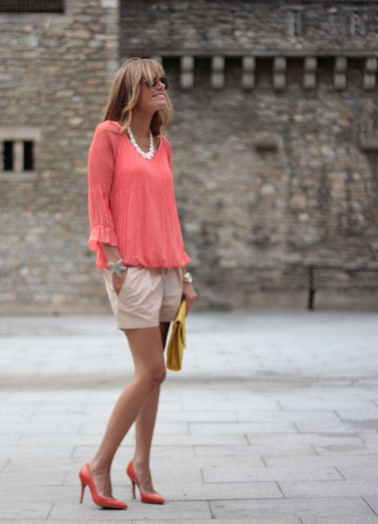 bright coral shirt
