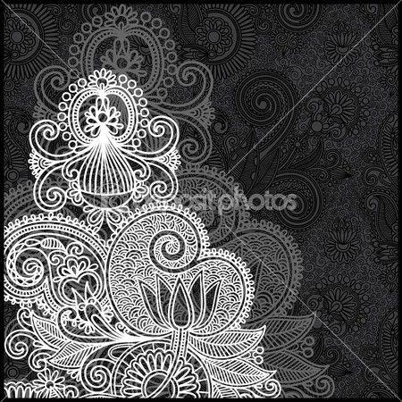 Черно-белый цветочный узор — Векторное изображение © karakotsya #8065625