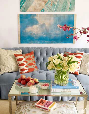 One pair of pillows always looks skimpy. Use two pairs, in contrasting patterns, colors, and textures.: Decor, Colors Combos, Living Rooms, Houses, Interiors Design, Colors Schemes, Memorial Tables, Sofas, Pillows