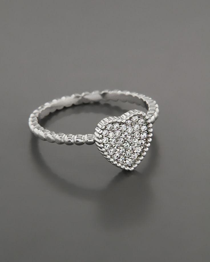Δαχτυλίδι Καρδιά ασημένιο 925 με Ζιργκόν