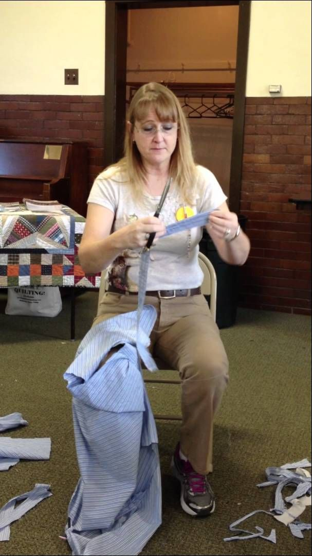Bonnie Hunter shows how to quickly disassemble a shirt for use in scrap quilting! http://quiltville.blogspot.com