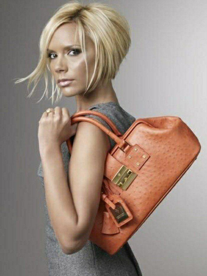 coupe de cheveux pour les filles blondes, sac a dos orange en cuir