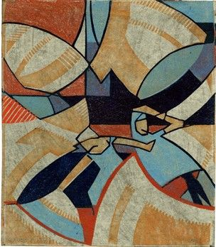 Claude Flight (British;1881 - 1955.) Women and Washing. c.1925. Abstract composition of two women and washing blowing on line. Colour linocut in orange, red, pale blue and dark blue, on thin tissue paper backed with black paper