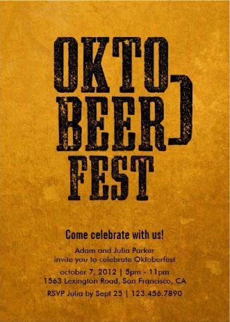 Golden Ale Oktoberfest Invitation. Oktobeerfest.