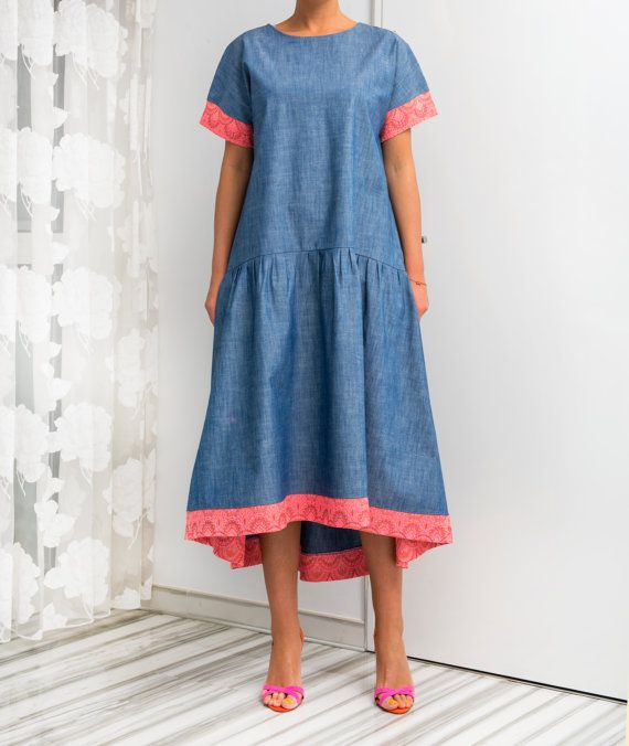 Denim Maxi Dress Denim dress High Low dress Blue Dress