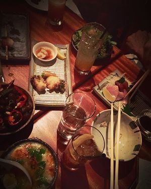 Pile on the plates in the izakaya tonight - boiled peanuts, sushi, tempura, okayu & yakimono await!