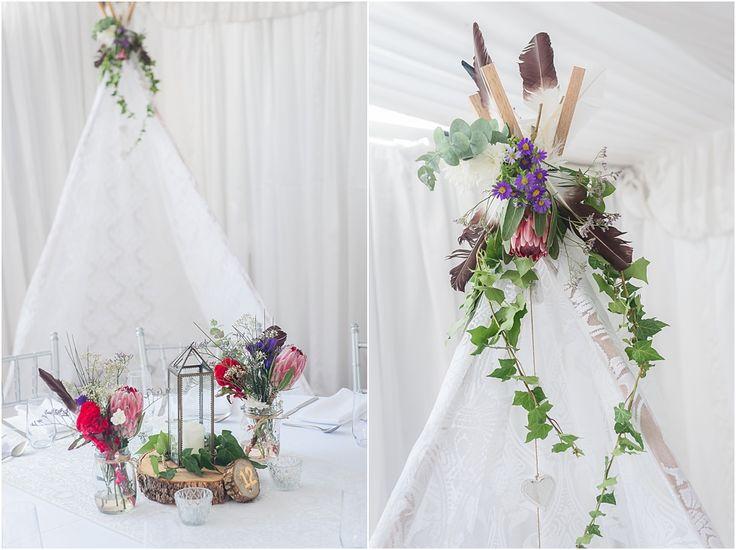 Loving this boho chic wedding in the Braeside Marquee #weddingstyling #braesidechapel #bohochic #teepee