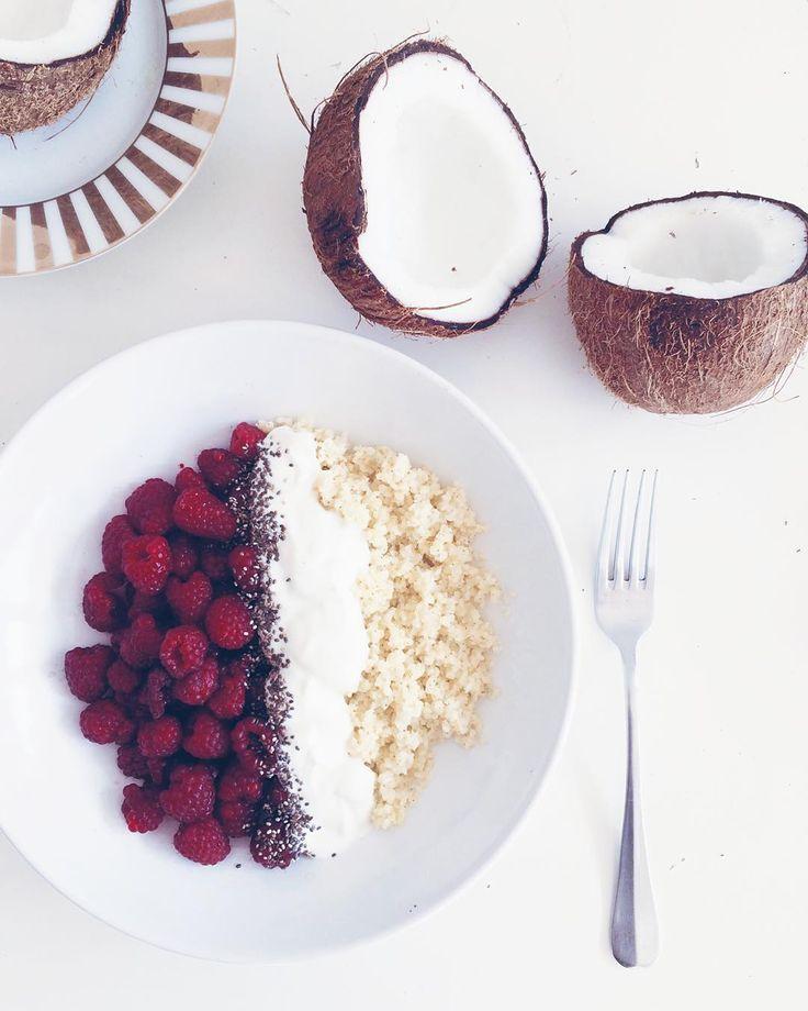breakfast, heathy, coconut, raspberries