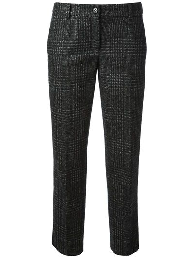 DOLCE & GABBANA - plaid trouser 6 . Grey alpaca wool blend trouser from Dolce & Gabbana featuring a button and zip fly, belt loops, side seam pockets, rear welt pockets, a check pattern and a cropped length.  alpaca:45%wool:10%polyamid .