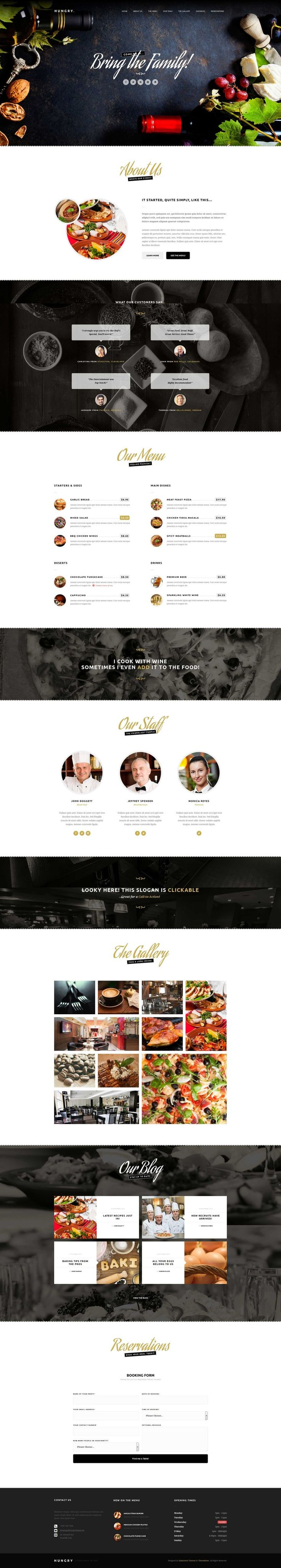 Hungry – A One-Page Restaurant Template Published by Maan Ali