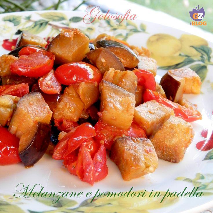 Melanzane e pomodori in padella-ricetta contorni-golosofia