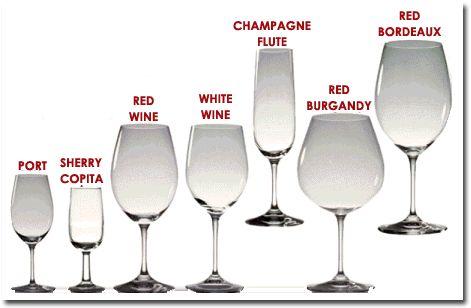 Wine glasses for wine types