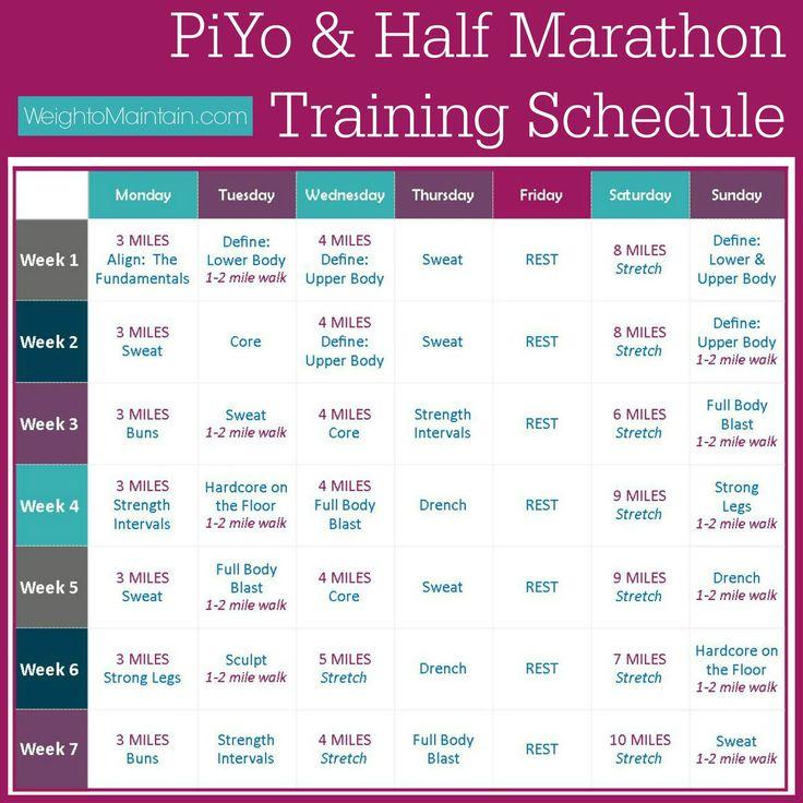 PiYo Half Marathon Training Plan - use PiYo as cross-training with - sample workout calendar