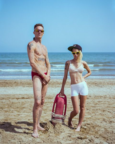 Promotional shooting for Die Antwoord in Venice, Italy. Shot by Robin Bervini, 2014  #ninja #yolandi #yo-landi #visser #beach #lifeguards #baywatch