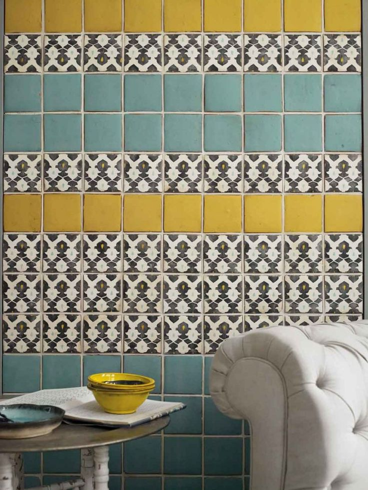 A Buyer's Guide to Tiles - I love the combination of colors & patterns in this design!