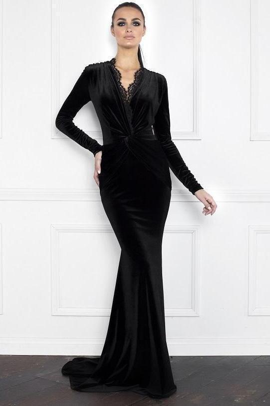 Nicole Bakti Long Sleeve Lace Velvet Gown Formal Sander Sides