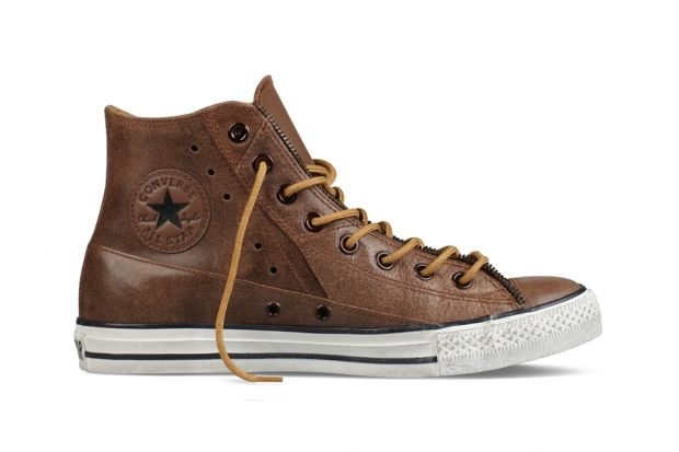 Moto Leather Brown Chuck Taylors     Oh thing of beauty, why must you be not available anymore?!