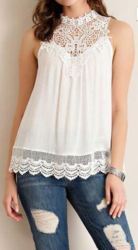 Crochet Embellished Tank- White