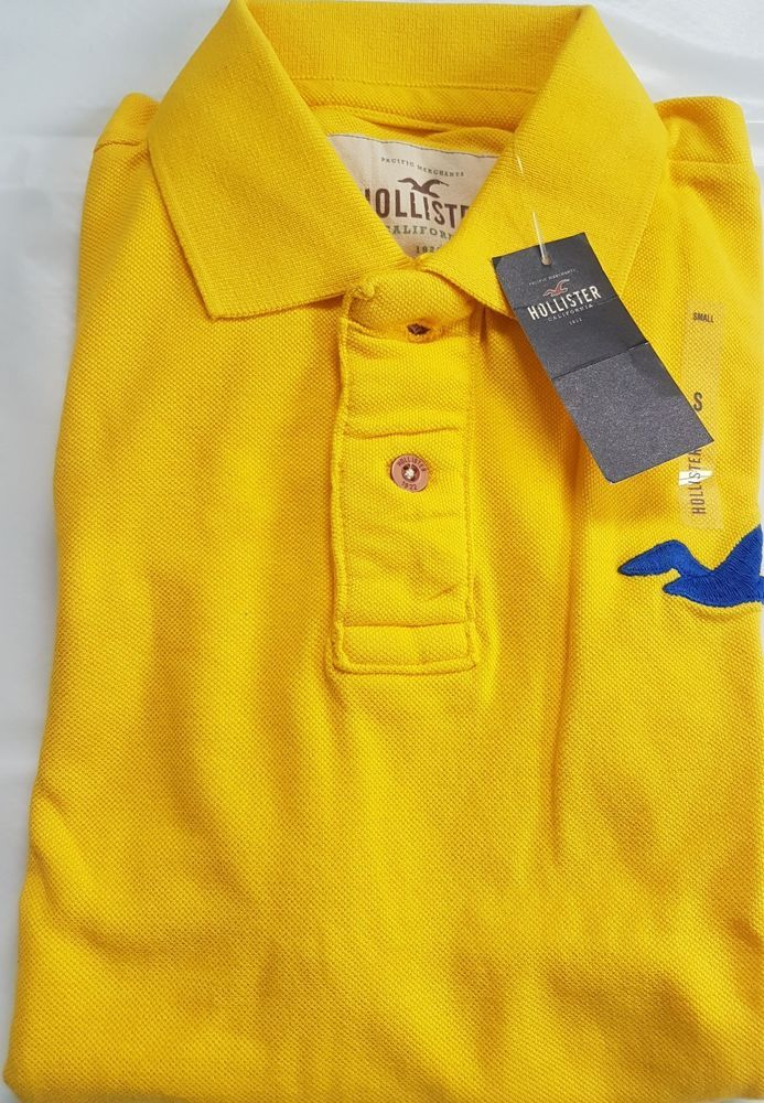 Mens' Authentic Hollister , Yellow Polo Tshirt, Brand New with Tags