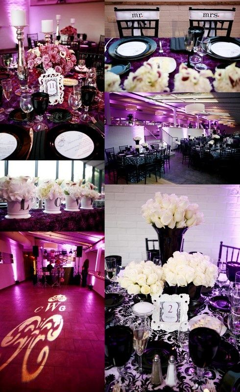 Black White And Purple Wedding I Like The Magenta Pink Color