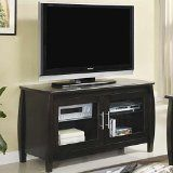 Coaster 700610 Contemporary TV Stand with Glass Doors, Cappuccino Finish. Can hold up to a 42-inch flatscreen TV. Constructed of wood and veneers. Cappuccino finish.